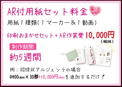 AR付用紙セット料金 印刷お任せセット+AR作業費 10,800円